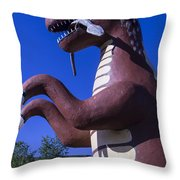 Roadside Dinosaur Throw Pillow