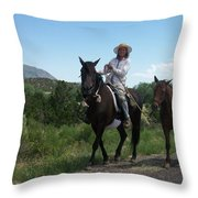 Roadside Horses Throw Pillow