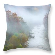 Roanoke River And Fog Throw Pillow