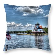 Roanoke River Lighthouse No. 2a Throw Pillow