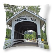 Roaring Camp Covered Bridge Throw Pillow