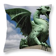 Roaring Winged Dragon Sculpture Of Green Sheet Copper Symbol Of  Throw Pillow