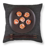 Roasted Shrimps Served On Plate Throw Pillow