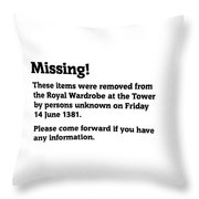 Robbery At The Tower Of London Throw Pillow