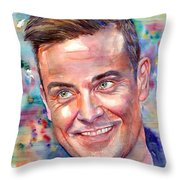 Robbie Williams Portrait Throw Pillow