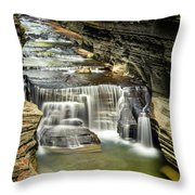Robert H. Treman State Park Gorge Upper Falls Throw Pillow