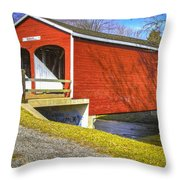 Roberts Covered Bridge Throw Pillow