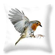 Robin Alighting Throw Pillow