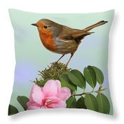 Robin And Camellia Flower Throw Pillow