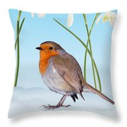 Robin And Cold Snowdrops Throw Pillow