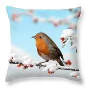 Robin And Cotoneaster With Snow Throw Pillow