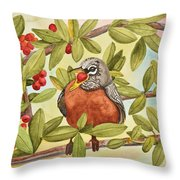 Robin Eating Berries Throw Pillow