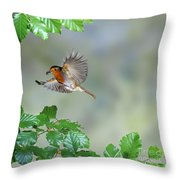Robin Flying To Nest Throw Pillow