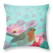 Robin In A Field Of Poppies Throw Pillow