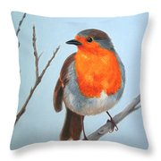 Robin In The Tree Throw Pillow