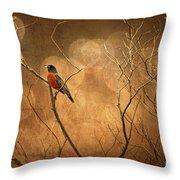 Robin Throw Pillow by Lois Bryan