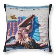 Robin At The Beach Throw Pillow