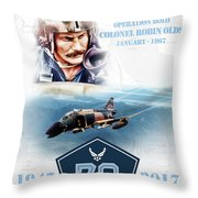Robin Olds Breaking Barriers Throw Pillow