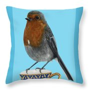 Robin On Cup Throw Pillow