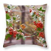 Robin On Holly Twigs Throw Pillow