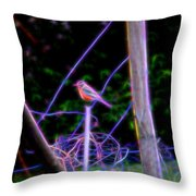 Robin On The Wires Throw Pillow