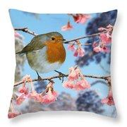 Robin On Winter Flowering Plum Throw Pillow
