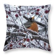 Robin Perched In Crabapple Tree Throw Pillow
