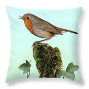 Robin Singing On Ivy-covered Stump Throw Pillow