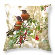 Robins In Holly Throw Pillow
