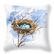 Robin's Nest Throw Pillow