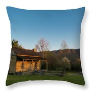 Robinson Cabin At Wilderness Road State Park Throw Pillow