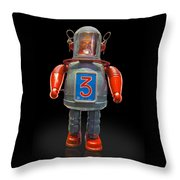 Robo Space Toys Knockout On Black Throw Pillow