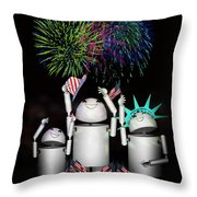 Robo-x9 And Family Celebrate Freedom Throw Pillow