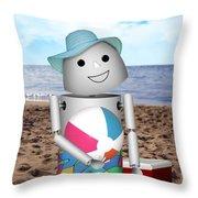 Robo-x9 At The Beach Throw Pillow
