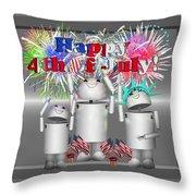 Robo-x9 Celebrates Freedom Throw Pillow