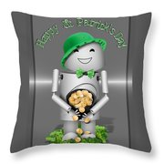 Robo-x9 With A Pot Of Gold Throw Pillow