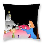 Robot Dining Cartoon Throw Pillow