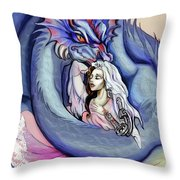 Robot Dragon Lady Throw Pillow