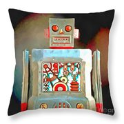 Robot Pop Art R-1 Throw Pillow