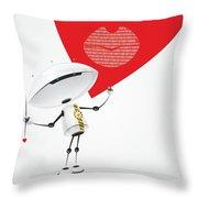 Robot Romantic Throw Pillow