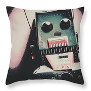 Robotic Mech Under Vintage Spotlight Throw Pillow