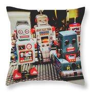 Robots Of Retro Cool Throw Pillow