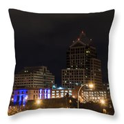 Rochester Skyline From Freddie-sue Bridge Throw Pillow