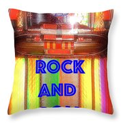 Rock And Roll Jukebox Throw Pillow