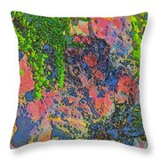 Rock And Shrub Abstract Bright Throw Pillow