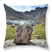 Rock At Abyss Lake Throw Pillow