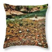 Rock Cairn At Buddha Beach - Sedona Throw Pillow