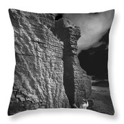 Rock Climber Monochrome Landscape  Throw Pillow