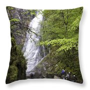 Rock Climbers At Graymare's Tail Falls Throw Pillow