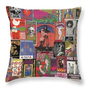 Rock Concert Posters Collage 1 Throw Pillow